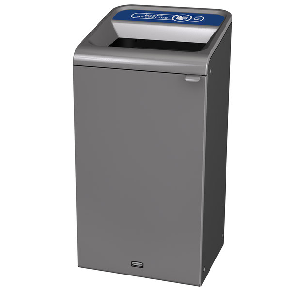 Rubbermaid 1961622 Configure 23 Gallon Stenni Gray 1 Stream Mixed Recycling Indoor Recycling Container