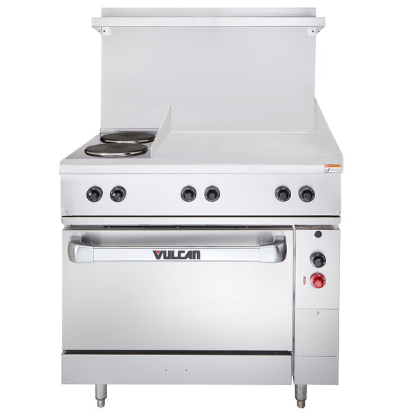 "Vulcan EV36-S-2FP-24G-208 Endurance Series 36"" Electric Range with 2 French Plates, 24"" Griddle, and 1 Standard Oven - 208V, 15.8 kW"