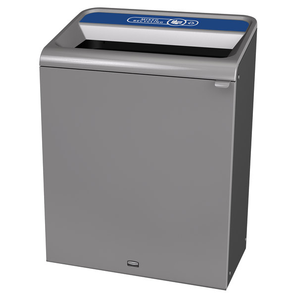 Rubbermaid 1961508 Configure 45 Gallon Stenni Gray 1 Stream Mixed Recycling Indoor Recycling Container