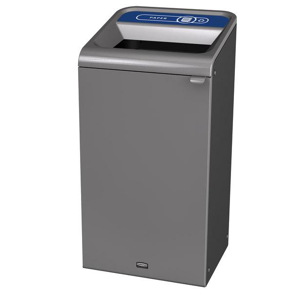 Rubbermaid 1961623 Configure 23 Gallon Stenni Gray 1 Stream Paper Indoor Recycling Container