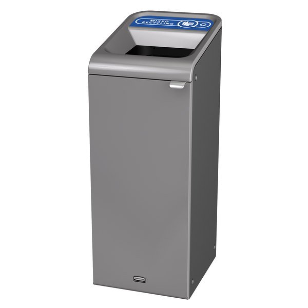 Rubbermaid 1961615 Configure 15 Gallon Stenni Gray 1 Stream Mixed Recycling Indoor Rectangular Recycling Container Main Image 1