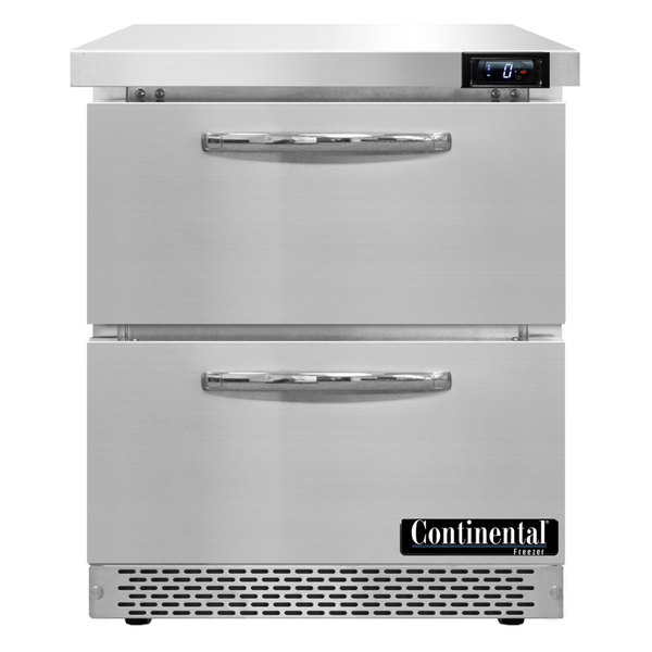 "Continental Refrigerator SWF27-FB-D 27"" Front Breathing Undercounter Freezer with Two Drawers"