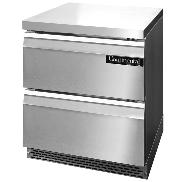 """Continental Refrigerator SWF27-FB-D 27"""" Front Breathing Undercounter Freezer with Two Drawers"""