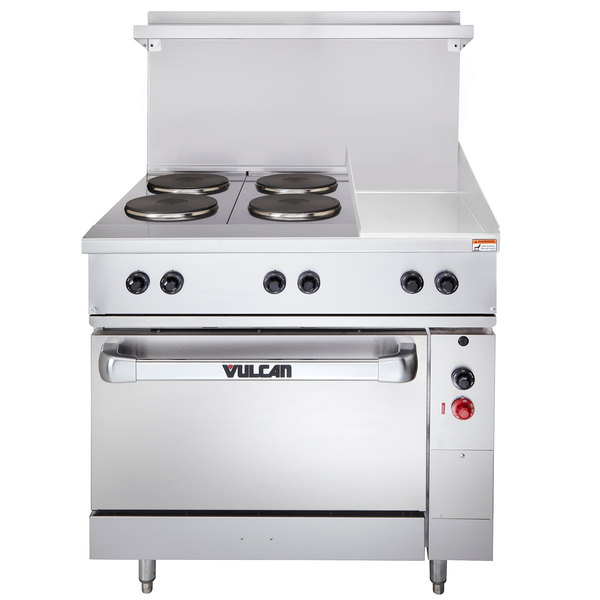 "Vulcan EV36-S-4FP-12G-240 Endurance Series 36"" Electric Range with 4 French Plates, 12"" Griddle, and 1 Standard Oven - 240V, 16.4 kW"