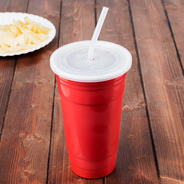 GET SC-32-SET-R To-Go 32 oz. Customizable Red Reusable Plastic Tumbler, Lid, and Straw Set - 24/Case