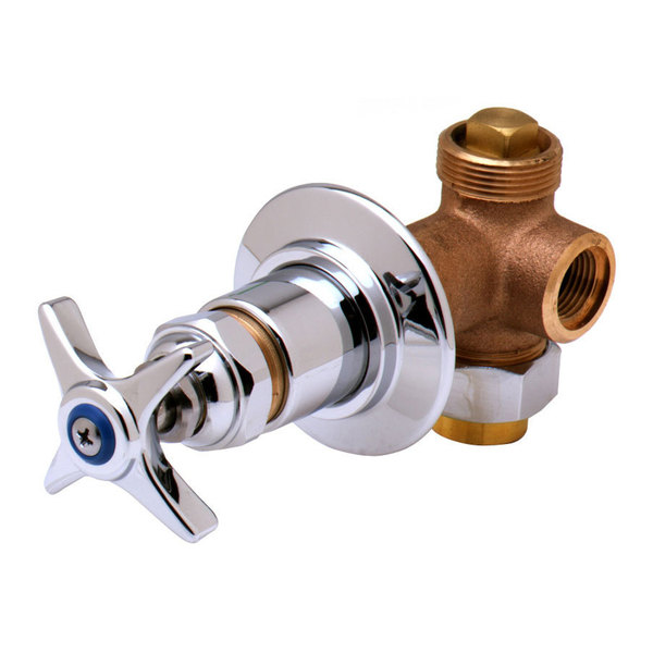"Hot T&S B-1020 Concealed Bypass Valve with 1/2"" NPT Female Inlet and Outlet and Four Arm Handle with Index ADA Compliant"