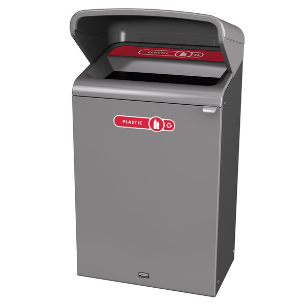 Rubbermaid 1961729 Configure 33 Gallon Stenni Gray 1 Stream Plastic Outdoor Recycling Container with Rain Hood