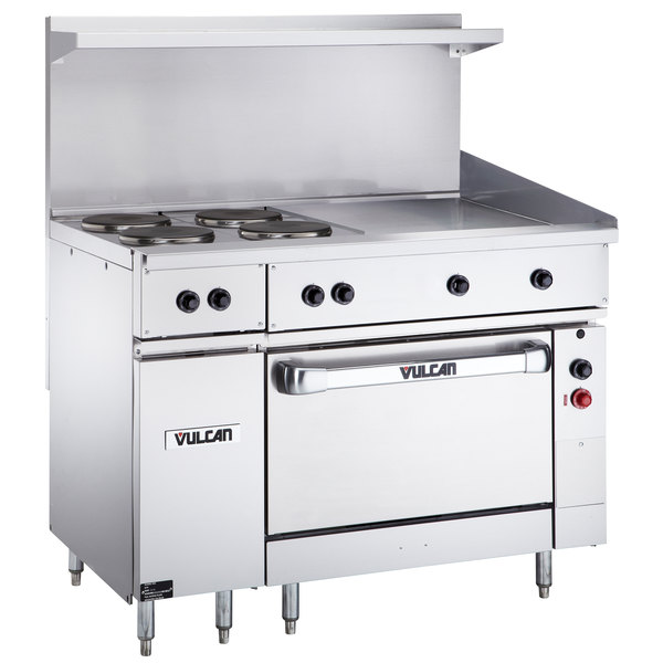 Vulcan Ev48s 4fp24g240 Endurance Series 48 Electric Range With 4 French Plates 24 Griddle And Oven