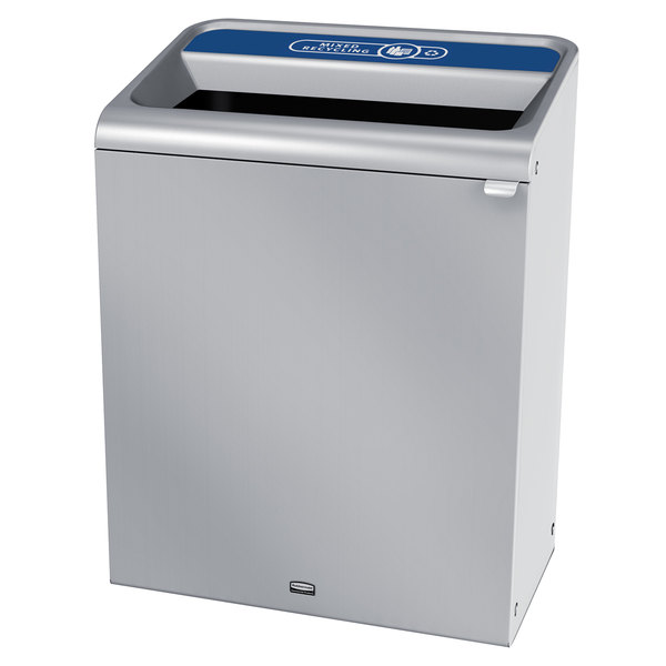 Rubbermaid 1961705 Configure 45 Gallon Stainless Steel 1 Stream Mixed Recycling Indoor Recycling Container