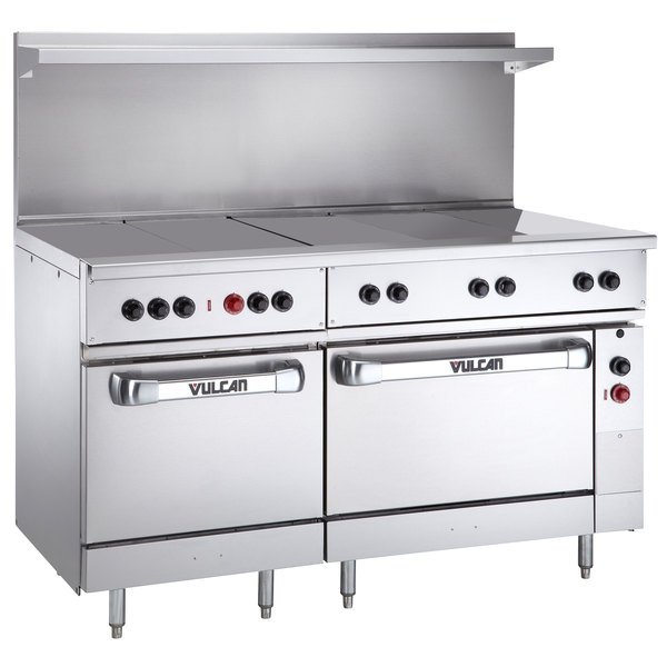 "Vulcan EV60SS-5HT480 Endurance Series 60"" Electric Range with 5 Hot Tops, 1 Standard Oven, and 1 Oversized Oven - 480V, 25 kW"