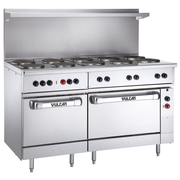 "Vulcan EV60SS-10FP480 Endurance Series 60"" Electric Range with 10 French Plates, 1 Standard Oven, and 1 Oversized Oven - 480V, 30 kW"
