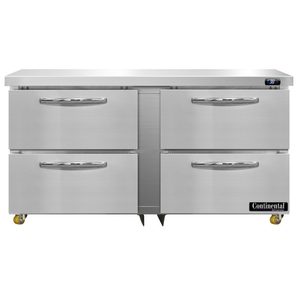 """Continental Refrigerator SW60-U-D 60"""" Low Profile Front Breathing Undercounter Refrigerator with Four Drawers"""