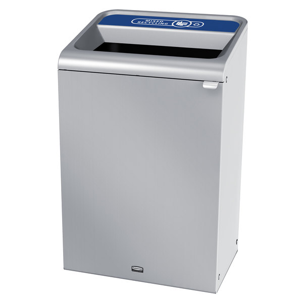 Rubbermaid 1961698 Configure 33 Gallon Stainless Steel 1 Stream Mixed Recycling Indoor Recycling Container