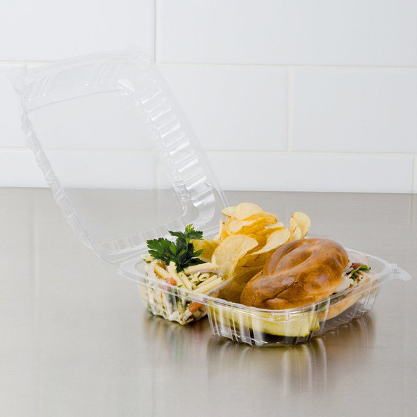 """Dart C95PST3 9 1/2"""" x 9 1/2"""" x 3 1/4"""" ClearSeal 3 Compartment Hinged Lid Plastic Container - 100/Pack"""