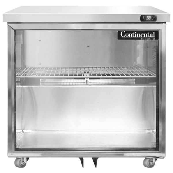 """Continental Refrigerator SW32-U-GD 32"""" Low Profile Front Breathing Undercounter Refrigerator with Glass Door - 9 Cu. Ft."""