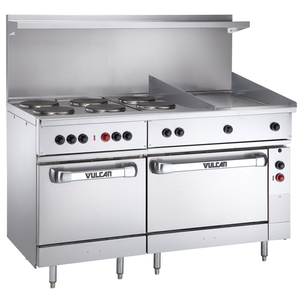 "Vulcan EV60SS-6FP24G208 Endurance Series 60"" Electric Range with 6 French Plates, 24"" Griddle, 1 Standard Oven, and 1 Oversized Oven - 208V, 28.8 kW"