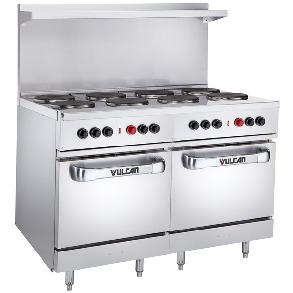 "Vulcan EV48SS-8FP480 Endurance Series 48"" Electric Range with 8 French Plates and 2 Ovens - 480V, 26 kW"