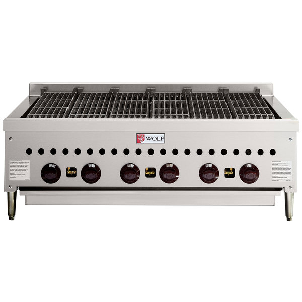 "Wolf SCB36-LP Liquid Propane Low Profile 36"" Radiant Gas Charbroiler - 87,000 BTU"