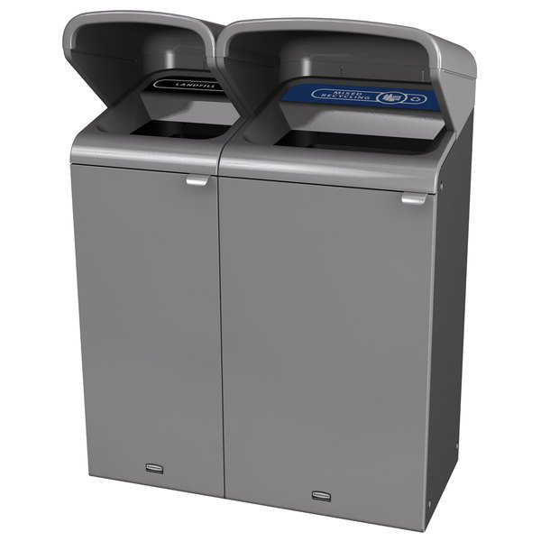 Rubbermaid 1961803 Configure 38 Gallon Stenni Gray 2 Stream Landfill and Mixed Recycling Outdoor Waste / Recycling Station with Rain Hoods