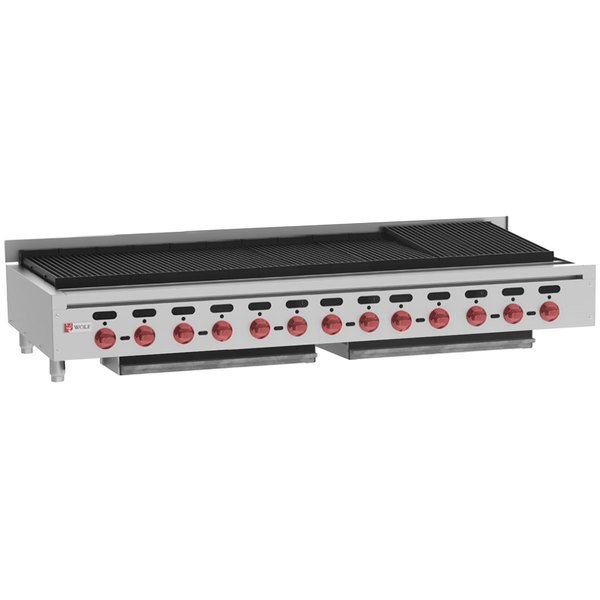 "Wolf ACB72-LP Liquid Propane Low Profile 72"" Medium-Duty Radiant Gas Countertop Charbroiler - 208,000 BTU"