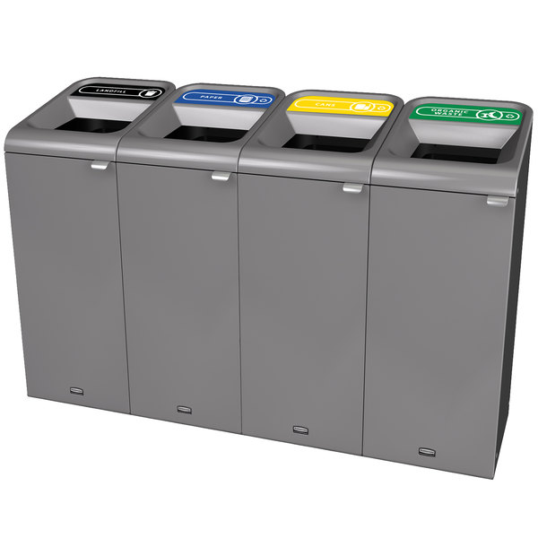 Rubbermaid 1961772 Configure 60 Gallon Stenni Gray 4 Stream Landfill, Paper, Cans, and Organic Waste Indoor Waste / Recycling Station