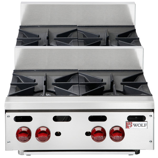 "Wolf AHP424U-NAT Achiever Natural Gas 24"" 4 Burner Step Up Countertop Range - 120,000 BTU"
