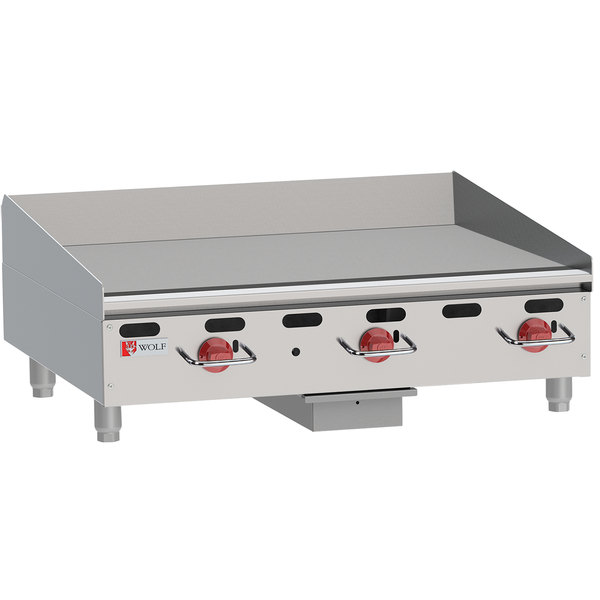 "Wolf AGM36-NAT Natural Gas 36"" Heavy-Duty Gas Countertop Griddle with Manual Controls - 81,000 BTU"
