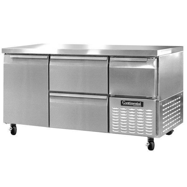 "Continental Refrigerator CRA60-D 60"" Undercounter Refrigerator with 2 Drawers, 1 Full Door, and 1 Half Door - 19 cu. ft."
