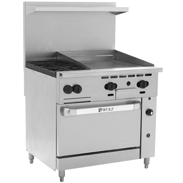 "Wolf C36S-2B24GTP Challenger XL Series Liquid Propane 36"" Thermostatic Range with 2 Burners, 24"" Right Side Griddle, and Standard Oven - 135,000 BTU"