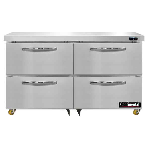 """Continental Refrigerator SWF48-U-D 48"""" Low Profile Front Breathing Undercounter Freezer with Four Drawers"""