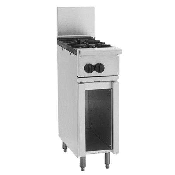 """Wolf C12-2BN Challenger XL Series Natural Gas 12"""" Range with 2 Burners and Cabinet Base - 60,000 BTU"""