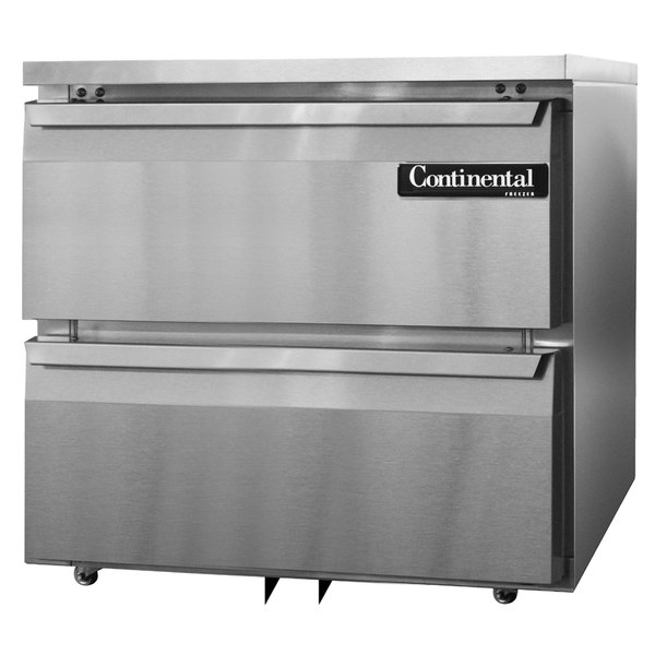 """Continental Refrigerator SWF32-U-D 32"""" Low Profile Undercounter Freezer with Two Drawers"""