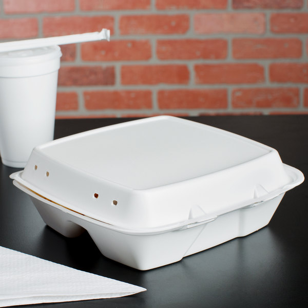 """Dart 90HTPF3VR 9"""" x 9"""" x 3"""" White Foam Square Vented 3 Compartment Take Out Container with Perforated Hinged Lid - 200/Case"""