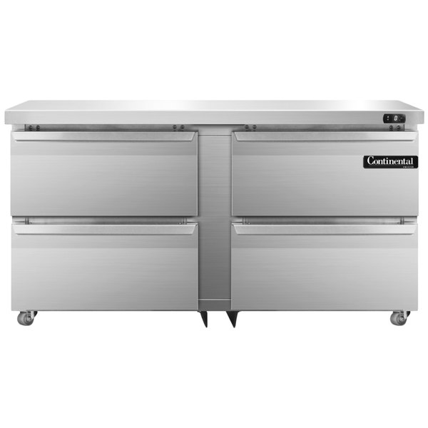 """Continental Refrigerator SWF60-U-D 60"""" Low Profile Front Breathing Undercounter Freezer with Four Drawers"""