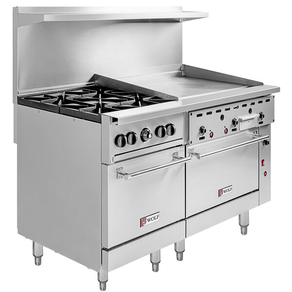 """Wolf C60SC-4B36GP Challenger XL Series Liquid Propane 60"""" Manual Range with 4 Burners, 36"""" Right Side Griddle, 1 Standard, and 1 Convection Oven - 238,000 BTU Main Image 1"""