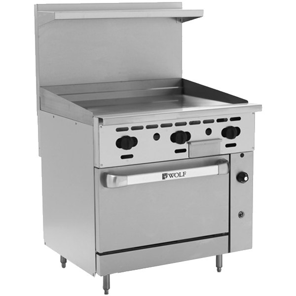"Wolf C36C-36GTP Challenger XL Series Liquid Propane 36"" Thermostatic Range with Griddle and Convection Oven - 95,000 BTU"