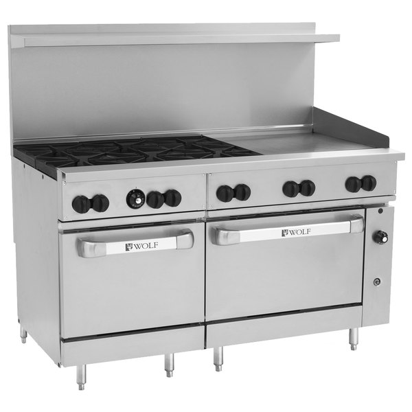 "Wolf C60SS-6B24GN Challenger XL Series Natural Gas 60"" Manual Range with 6 Burners, 24"" Right Side Griddle, and 2 Standard Ovens - 278,000 BTU"