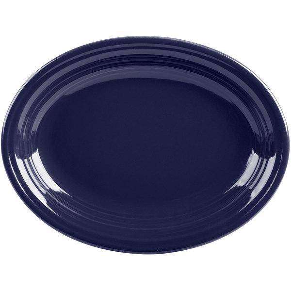 "Fiesta Tableware from Steelite International HL457105 Cobalt Blue 11 5/8"" x 8 7/8"" Oval Medium China Platter - 12/Case Main Image 1"