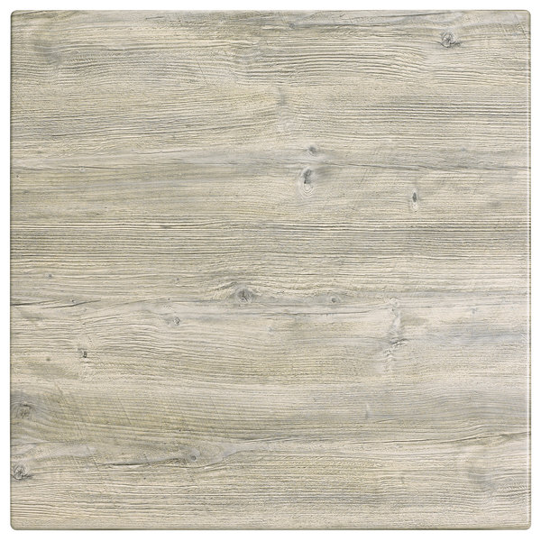 "Grosfillex 99841171 32"" Square White Oak Outdoor Molded Melamine Table Top"