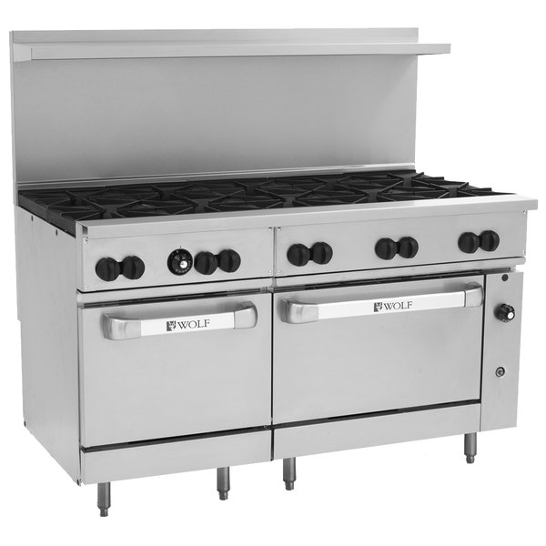 "Wolf C60SS-10BP Challenger XL Series Liquid Propane 60"" Manual Range with 10 Burners and 2 Standard Ovens - 358,000 BTU"