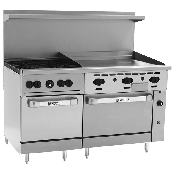 """Wolf C60SS-4B36GN Challenger XL Series Natural Gas 60"""" Manual Range with 4 Burners, 36"""" Right Side Griddle, and 2 Standard Ovens - 238,000 BTU"""