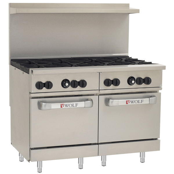 "Wolf C48SS-8BP Challenger XL Series Liquid Propane 48"" Range with 8 Burners and 2 Standard Ovens - 286,000 BTU"