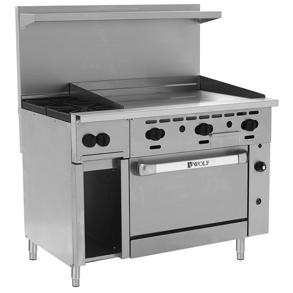 "Wolf C48S-2B36GN Challenger XL Series Natural Gas 48"" Manual Range with 2 Burners, 36"" Right Side Griddle, and Standard Oven - 155,000 BTU"