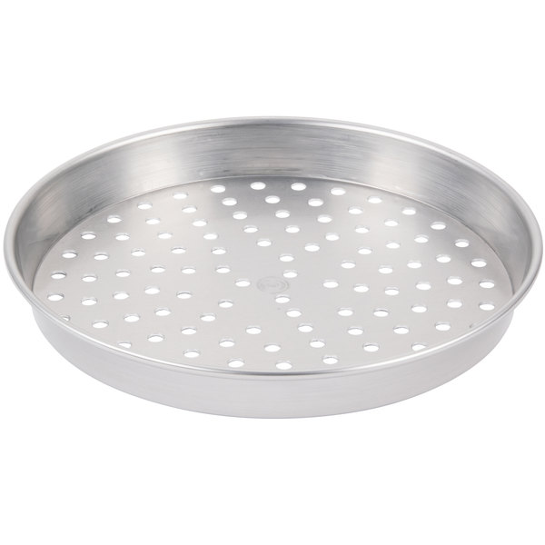 """American Metalcraft PHA5007 7"""" x 2"""" Perforated Heavy Weight Aluminum Straight Sided Pizza Pan"""