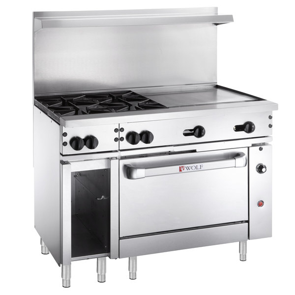 """Wolf C48S-4B24GTP Challenger XL Series Liquid Propane 48"""" Thermostatic Range with 4 Burners, 24"""" Right Side Griddle, and Standard Oven - 195,000 BTU"""