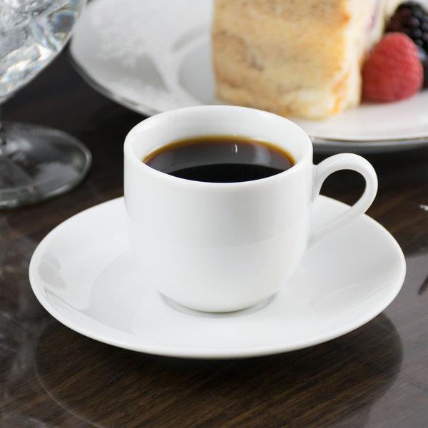 10 Strawberry Street RB0011 Classic White 3 oz. White Porcelain Ballet Demi Cup with Saucer - 24/Case