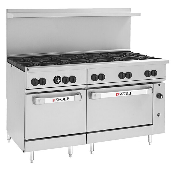 """Wolf C60SC-10BP Challenger XL Series Liquid Propane 60"""" Range with 10 Burners, 1 Standard, and 1 Convection Oven - 358,000 BTU Main Image 1"""