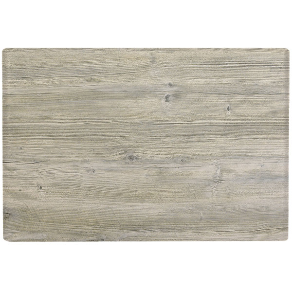 "Grosfillex 99851471 32"" x 48"" White Oak Outdoor Molded Melamine Table Top"