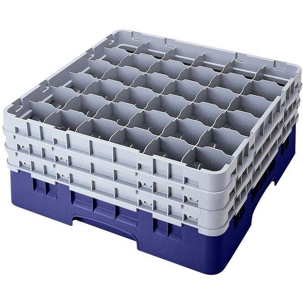 "Cambro 36S418186 Navy Blue Camrack Customizable 36 Compartment 4 1/2"" Glass Rack"