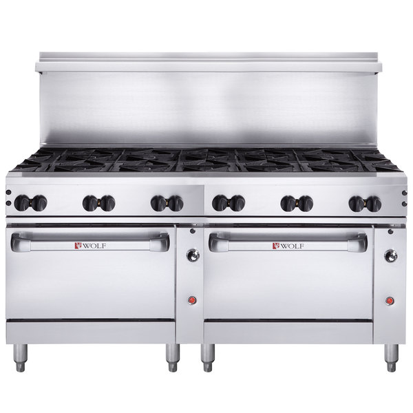"""Wolf C72SS-12BN Challenger XL Series Natural Gas 72"""" Range with 12 Burners and 2 Standard Ovens - 430,000 BTU"""